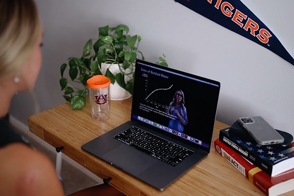 A student takes an online class.